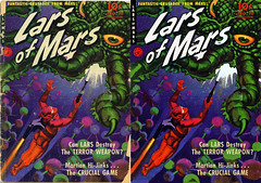 Lars of Mars_Before and After (kevin63) Tags: lightner comicbook cover color photoshop picture outerspace larsofmars ziffdavis 50s 1950s fifties magazine monster raygun spacesuit helmet crusader old vintage antique retro restored retouched