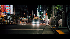 Shinjuku, Tokyo, Japan (emrecift) Tags: candid portrait cityscape night low light backlit street photography tokyo japan cinematic 2391 anamorphic bokeh blue streak flare cinemorph filter sony a7 alpha legacy lens glass canon new fd 50mm f14 emrecift