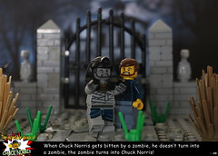 The incredible doings of Chuck Norris #3 - When Chuck Norris gets bitten by a zombie, he doesn't turn into a zombie, the zombie turns into Chuck Norris! (y20frank) Tags: lego chuck norris zombie