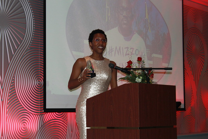 Monique Green accepts her award for Emerging Activist at the Juneteenth Trailblazers Awards