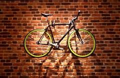 Bike (nicopeña2) Tags: bike black green wheels brick wall shadow bycicle