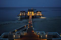 Classic Seebrücke (martin.matte) Tags: germany island balticsea ocean pier ruggia lights evening dark outdoor landscape architecture city travel blue seascape