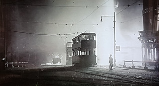 Burned Out Trams, Sheffield 1940.