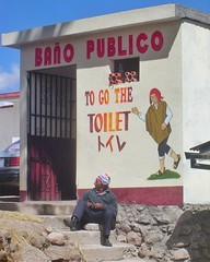 """I love how they made this bathroom outside of the immigration office at the border crossing of #Peru & #Bolivia, along the shore of #LakeTiticaca, so user friendly by being in Spanish and English! """"To go the toilet."""" #TreasuresOfTraveling #SouthAmerica. R (TreasuresOfTraveling) Tags: treasuresoftraveling bordercrossing immigration peru bolivia southamerica latinamerica"""