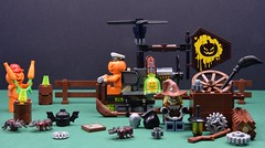 Pumpkins rebellion🎃 (Alex THELEGOFAN) Tags: lego legography minifigure minifigures minifig minifigurine minifigs minifigurines movie batman the pumpkin orange forest helicopter fly airplane toolbox tool wood wooden metal gear wheel carrot horror halloween