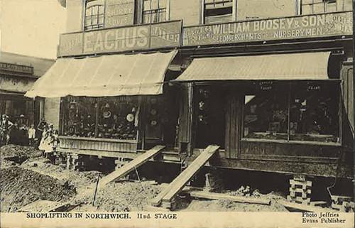 Charles Eachus, hatter, 1 Witton Street.  William Boosey & Son, nurseryman & seed merchants, 3 Witton Street (during reconstruction) - around 1913