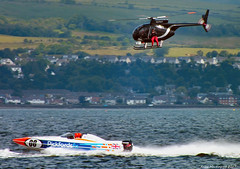 Scotland Greenock Scottish Grand Prix of the Sea a tv helicopter following a powerboat race 25 June 2017 by Anne MacKay (Anne MacKay images of interest & wonder) Tags: scotland river clyde greenock scottish grand prix sea tv helicopter powerboat race hs30 25 june 2017 picture by anne mackay