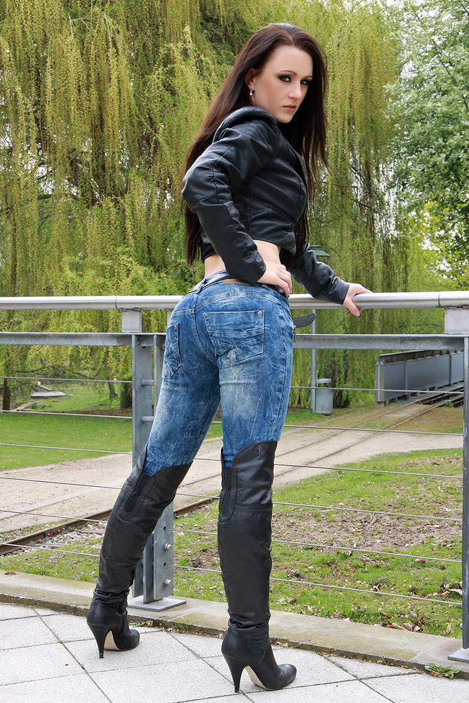 Sexy girls in tight jeans and boots