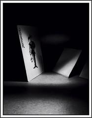 Play of light (Bob R.L. Evans) Tags: playingcards jokercard symbol blackandwhite lightandshadow lowkey unusual contrast ipadphotography mystery