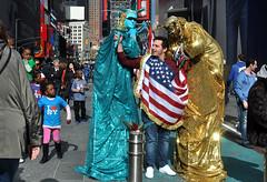liberty (greenelent) Tags: july4 forthofjuly timessquare nyc streets statueofliberty flag 365 photoaday