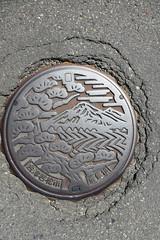 Aizuwakamatsu manhole (Stop carbon pollution) Tags: japan 日本 honshuu 本州 touhoku 東北 fukushimaken 福島県