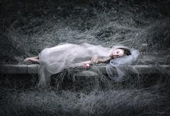 Snow White ({jessica drossin}) Tags: jessicadrossin girl sleeping woman beauty fairytale grass desaturated apple bite rest gothic dream wwwjessicadrossincom portrait snow white