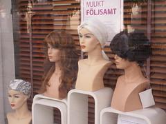 Mannequin foursome, wig shop window, Gothenburg, Sweden (Paul McClure DC) Tags: gothenburg sweden sverige july2015 göteborg shopwindow mannequin