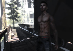 Working on the railroad. (jc.underwood) Tags: male tattoos railroad train atletic meshbody signature catwabento avatar secondlife slmen selfie portrait shorts person people guy