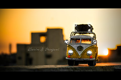 Sunset on volkswagen miniature summer (Karim S.Punjani) Tags: landscape holiday loading lifestyle scene volkswagen summer miniature vehicle sunset travel old vintage road retro background adventure vacation design concept sun yellow trip car hot luggage transportation journey bus classic van toy