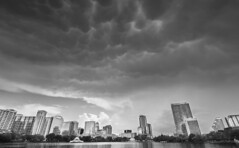 Ominous (tshabazzphotography) Tags: clouds orlando florida downtownorlando lakeeola blackandwhite monochrome canonoffical canonphotogrpahy skyline cityscape buildings dark ominous