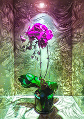 Give Them Moisture and Light to Grow (Steve Taylor (Photography)) Tags: green mauve purple asia city singapore flower orchid plant shadow texture light lamp alcove