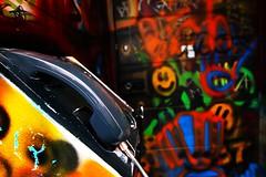 mystery door 3/3 (AlfieChallis) Tags: photo photography photograph photographs photographer streetphotography graffiti bristol canon 700d canon700d sigma sigmalens wideangle bristolcity city colour green red orange blue bright phone mystery door