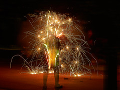 Street Fireworks (Roger Duke) Tags: fireworks street 4thofjuly sony a99 nc raleigh ghost