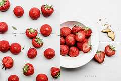 Before / After (Sylvia Houben) Tags: summer strawberries summertreat diptych beforeafter fromalocalfarm verano