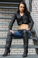 Alexandra 45 (The Booted Cat) Tags: sexy cute girl model leather jacket tight jeans denim overkneeboots overknee heels highheels boots