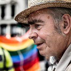 Not Flying The Flag (Sean Batten) Tags: london england unitedkingdom gb pride lgbt protest parade nikon d800 58mm streetphotography street candid flag