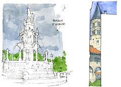 Clermont dessine, 2017 (gerard michel) Tags: france auvergne clermontferrand fontaine église sketch croquis aquarelle watercolour