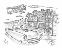Dandelion Estates (rod1691) Tags: bw scifi grey concept custom car retro space hotrod drawing pencil h2 hb original story fantasy funny tale automotive art illistration greyscale moonpies sketch