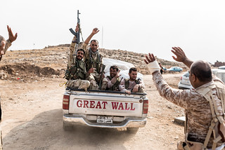 Going to work... Peshmergas heading to the front line.