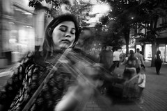 Life through music (stanimirpetkov) Tags: bulgaria plovdiv streetphotography streetportrait documentary underground social culture classicalmusic mozart violin girl playing bw