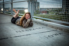 Hannah at Bob the Bridge (huskerman76) Tags: bobthebridge bobkerrey pedestrian bridge omaha nebraska iowa cb girl lady woman teen pretty cute beautiful gorgeous river councilbluffs clouds storms storm night day border line foot feet toes barefoot barefeet camo leggings wind blowing rain downtown oldmarket canon 70d igersomaha