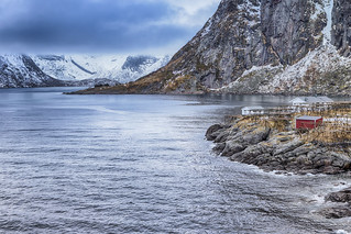 Travel concepts and Ideas. Picturesque Breathtaking View of Hamnoy Village at Lofoten Islands Shot from Upper Point.