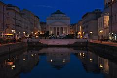 (Marion Schreiber) Tags: triest trieste italy friuliveneziagiulia april italien italia dusk twilight bluehour ancient haven water porto reflection