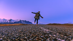 Kick away that blue (PokemonaDeChroma) Tags: iceland island vatnajokull nationalpark daughter road walk low pov bluehour standingtall kickingtheblue snowcapped mountains