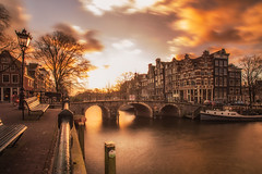 Sunset Colors (angheloflores) Tags: amsterdam canal houses bridge lights clouds sky colors travel architecture urban explore wallpaper netherlands brouwersgracht
