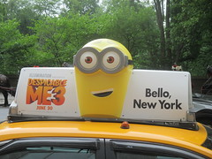 Despicable Me 3 Taxi Cab AD Movie 6512 (Brechtbug) Tags: despicable me 3 taxi cab ad movie poster billboard with yellow henchmen broadway 59th street near 5th avenue new york city 2017 computer animation cartoon multiple characters character transportation villain mastermind inventor evil genius minions minion gru u heart taxicab three standee prison jail cell mug shot mugshot 05292017 may