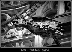 Gargoyles - 15 (fotomänni) Tags: prag praha prague veitsdom gargoyles wasserspeier steinfiguren skulpturen skulptur sculpture kunst schwarzweis blackwhite noirblanc gargouille manfredweis