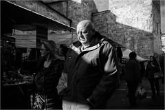 Untitled (Steve Lundqvist) Tags: people teramo italy italia italiano bw blackandwhite monochrome street fujifilm x100s streetphotography candid shot snap glasses bald alopecia giant baldness calvo thinning light market