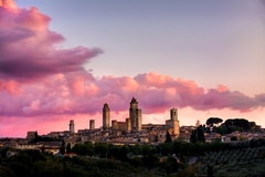 San Gimignano Sunset - Tuscany (andrebatz) Tags: san gimignano sunset magenta pink sky golden hour tuscany italy wine winery medieval tower towers preserved italia toscana landscape beautiful outdoor nikon d7100 sigma lens hdr history historical walls stone