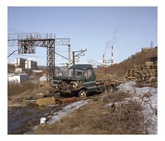 Murmansk, may 2017 (urban.photo.lv) Tags: murmansk urban car abandoned railway factory smoke stacks industrial post soviet suburbs analog film 6x7 fuji kodak portra 400 epson v500 vuescan colorperfect blue sky sunny day