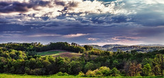 IMG_8550-51Ptzl1scTBbLGER (ultravivid imaging) Tags: ultravividimaging ultra vivid imaging ultravivid colorful canon canon5dmk2 clouds sunsetclouds stormclouds sunset spring evening vista scenic pennsylvania pa panoramic fields farm hills rural rainyday
