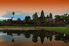 Sunrise at Angkor Wat, Cambodia (Chandana Witharanage) Tags: cambodia siemreap southeastasia worldheritagesite angkorwat archeology buddhist belief wattemple travelphotography journey trees reflection sunrise pilgrimage history monument worship tourist touristdestination khmer 12thcentury godvishnu buddhism