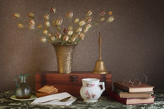 Still life vintage arrangement with brass and books. (Phyllis Freels) Tags: phyllisfreels bell biscuits books brass cup driedthistle flowers glass glasses napkin spoon stilllife tabletop vase vintage wood