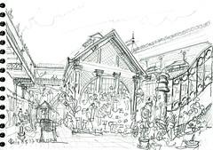 Porto, au marché (Croctoo) Tags: croctoo croquis croctoofr crayon portugal porto ville marché boutique fleuriste
