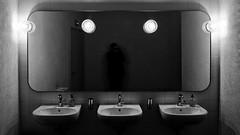 unterlinden museum colmar - rest room (selfie) (dan.boss) Tags: sink lamps mirror monochrome selfie restroom unterlinden colmar alsace france