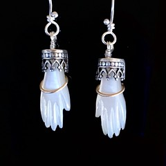 Tiny hands! Mother of Pearl, 14k gold and sterling silver earrings.