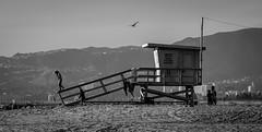 Lifeguard tower re-cropped (thomas.essi) Tags: bw beach blackwhite california coast la lifeguardtower losangeles shore usa bn