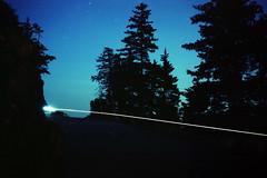 (patrickjoust) Tags: acadianationalpark mountdesertisland maine forest road dark bicycle light fujicagw690 kodakportra160 6x9 medium format 120 90mm f35 fujinon lens c41 color negative film manual focus analog mechanical cable release tripod long exposure patrick joust patrickjoust north america night after usa united states estados unidos bike stars trees