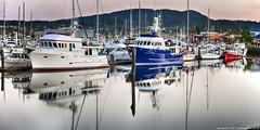 2017-05-24 Cap Sante Marina after Sunset (01) (Long Exposure) (2048x1024) (-jon) Tags: anacortes skagitcounty skagit washingtonstate washington salishsea pnw pacificnorthwest pacificocean fidalgoisland fidalgobay pacific ocean sanjuanislands pugetsound capsantemarina marina boat ship vessel sailboat water reflection a266122photographyproduction yacht cruiser pleasurecraft cabincruiser northwest
