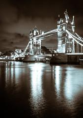 London Tower Bridge (Pixelglo Photography) Tags: towerbridge london bridge sepia mono monochrome river clouds longexposure reflection reflections water thames